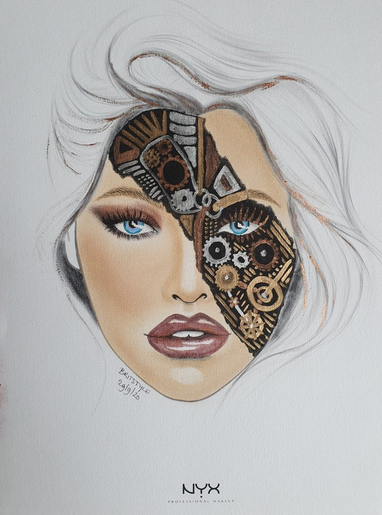 Facechart drawing with makeup