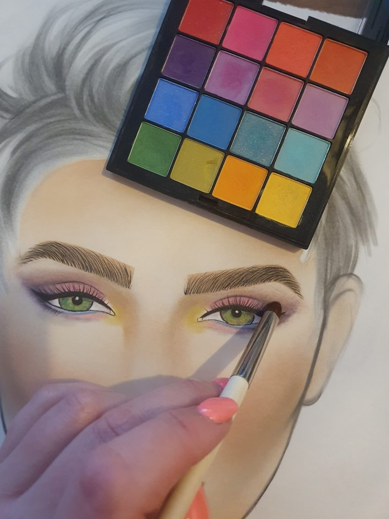 Blend with a small blender blush. For your facecharts eyes.
